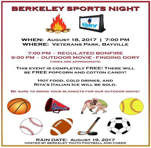 Berkeley Township Sports Night!!  Moved to Sat, Aug 19 due to weather